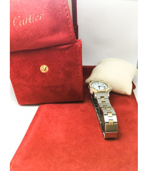 Automatic Cartier Santos Ronde Two Tone 18k Gold and SS Lady Watch
