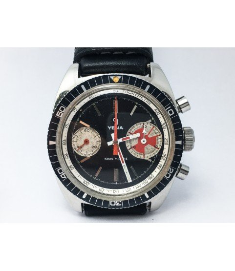 Rare Vintage Yema Sous Marine Big Eye Chronograph Men's Watch Valjoux 7733