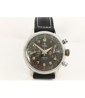 Vintage Yema Chronograph Watch Military Dial Valjoux 92