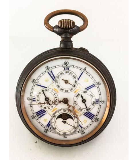 Antique Triple Calendar Moon Phase Goliath Pocket Watch Big 66.0 mm 1890s
