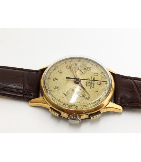 Vintage Seliva Chronograph Mens Watch Landeron 48 1950s
