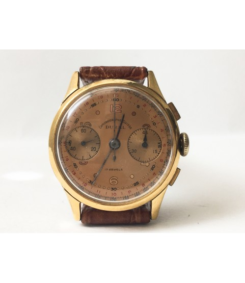 Vintage Dural Chronographe Suisse Men's Watch Tropical Dial 1940s
