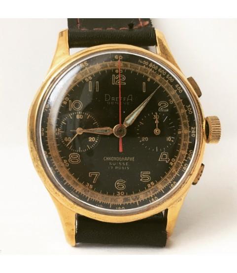 Vintage Dreffa Geneve Chronograph Men's Watch Black Dial Landeron 51
