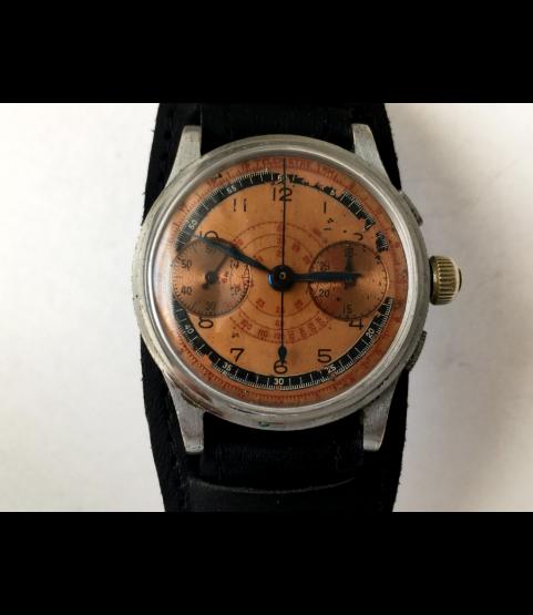 Vintage Military Chronograph Men's Watch Doctor Dial Landeron 47