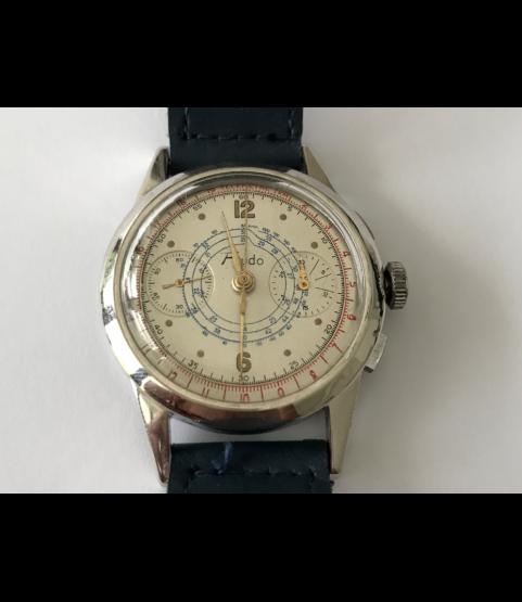 Vintage Fiudo Chronograph Watch Military Landeron 47 Doctor Dial