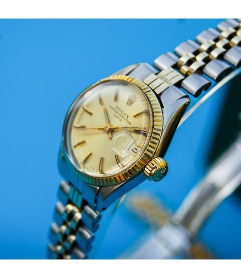Vintage Rolex Oyster Perpetual Date Automatic Watch Gold and Steel 6517