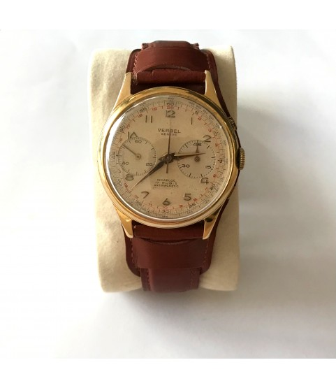 Vintage Verbel Geneve chronograph men's watch oversized 39mm