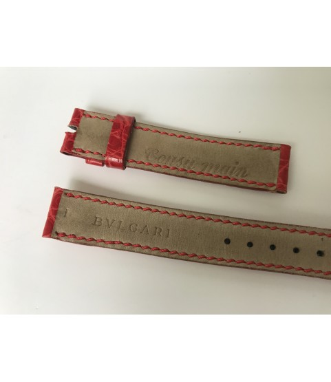 New Blvgari red leather strap for lady watches 14mm