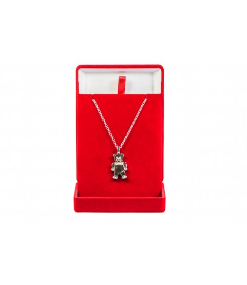 Charme Teddy Bear Pendant 14k White Gold with necklace jewelry for ladies