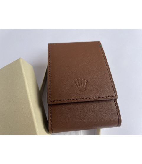 New Rolex leather pouch travel box in brown for 1 watch