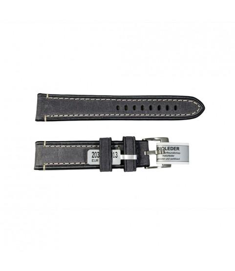 Rodeosoft Chrono dark grey watch leather strap 20mm