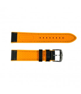 Daytona silicone and leather watch strap in black and orange 20mm