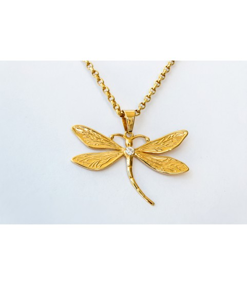 Charme Dragonfly Pendant 14k Solid Gold with necklace jewelry for ladies