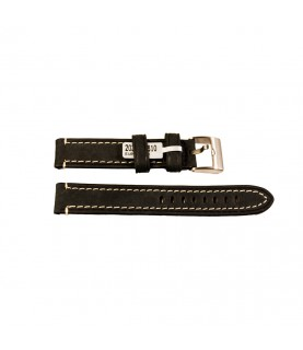 Rodeosoft Chronograph leather strap for watches in black color 18 mm