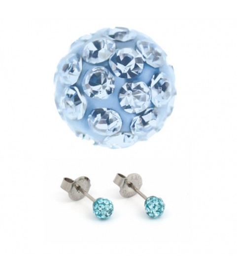 Studex Silver Ear Piercing Earrings Studs 4.5mm Fireball Aqua Crystal System 75