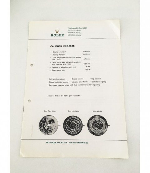Genuine Rolex Watch 1520 and 1525 Technical Information Service Catalog 1973