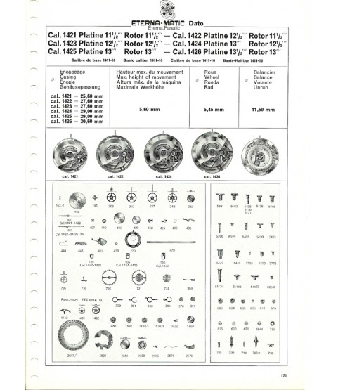 Eterna 1424U balance wheel with bridge part