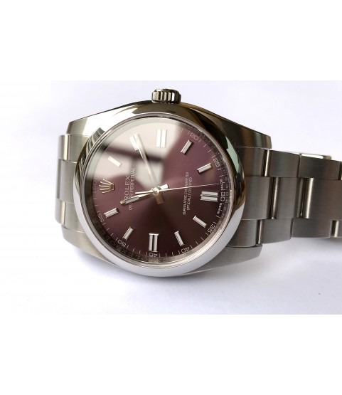 Rolex 116000 Oyster Perpetual watch with red grape dial 36mm