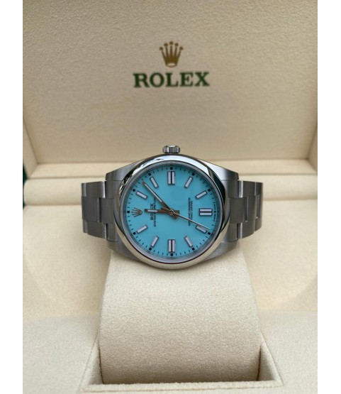New Rolex 124300 Oyster Perpetual watch 41mm turquoise blue dial