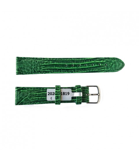Teju Lizard leather strap for watches in green color 18 mm silver tone buckle