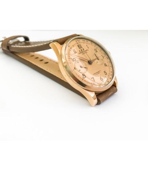 Vintage LEA 18k gold chronograph men's watch Landeron 48 1960s
