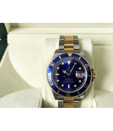 Rolex Submariner Date 16613 Blue Dial and Bezel 18k Gold Stainless Steel