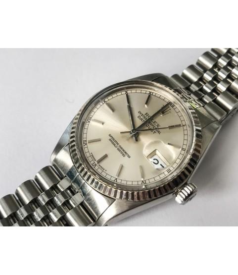 Rolex Datejust 16014 Navy Blue Automatic Men's Watch SS 18K white gold bezel