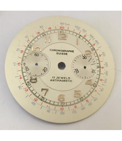 NOS vintage Chronographe Suisse dial for Venus, Landeron, Valjoux 34 mm