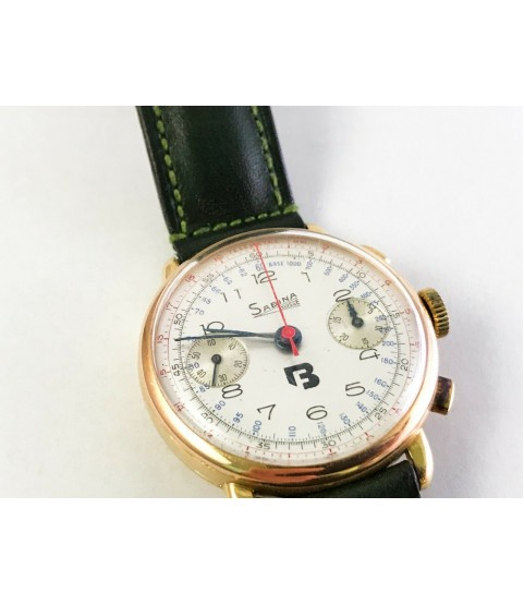 Rare Vintage Sabina 18K Solid Gold Chronograph Watch Landeron 3