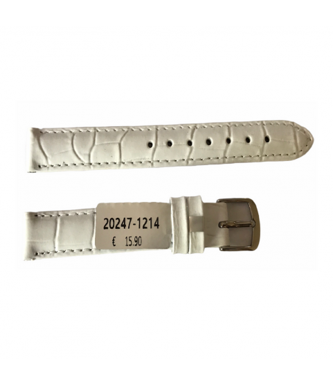 Louisiana Croco White Leather Strap For Ladies Watches 12mm