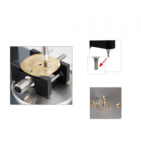 Dial milling device tool replacing the dial feet on a dial watchmakers