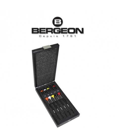 Bergeon 6899-A05 assortment of 5 screwdrivers in wooden box 0.50 to 1.20 mm