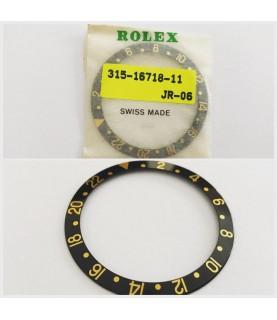 Genuine Rolex GMT 16718 black and gold bezel insert part 315-16718-11