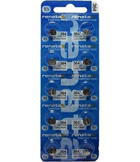 Renata Silver Oxide Watch Battery 364 - SR621SW (10 Batteries)
