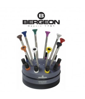 Bergeon 30081-S10 set of 10 screwdrivers on a rotating base from 0.50 to 3.00mm