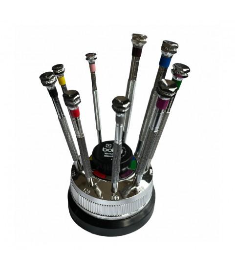 Boley set of 9 antimagnetic screwdrivers rotating base