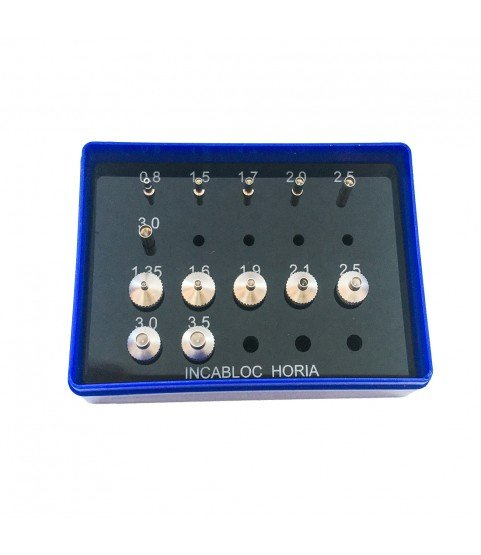 Horia INCA Jewelling assortment of 7 stakes and 6 pushers with a shank Ø 3mm