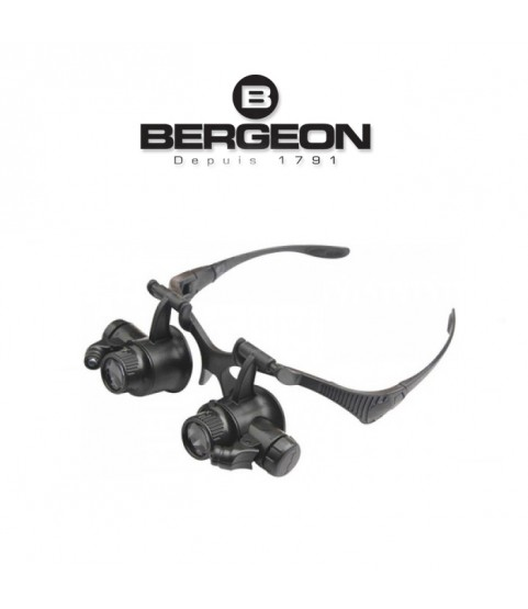 Bergeon 5382 watch repair eyeglass magnifier x10, x15, x20, x25 with LED