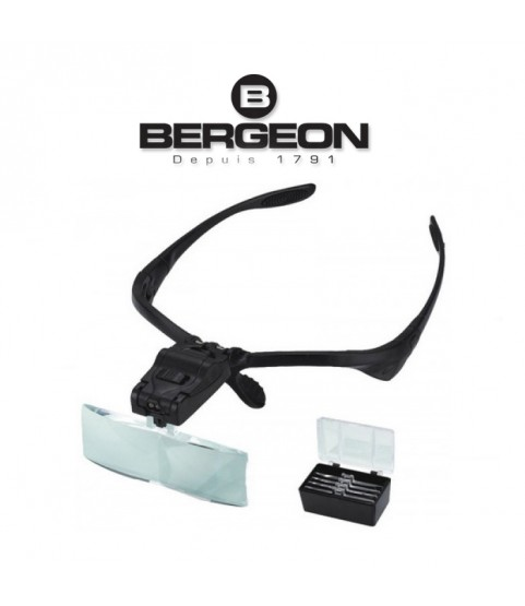 Bergeon 8909 glasses binocular magnifier LED light 1.0x, 1.5x, 2.0x, 2.5x and 3.5x