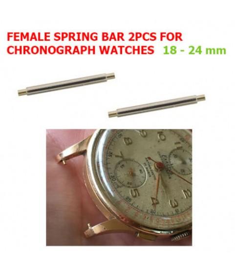 Female Spring Bar for Vintage 18k Chronograph Gold Watch 18-24 mm Negative 2pcs