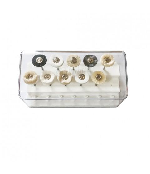 Polirapid mounted miniature small polishing round brush set 10pcs