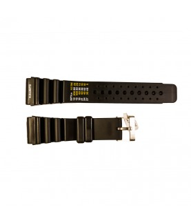Rubber diver watch strap with decompression table and stainless steel buckle 24 mm, 26 mm