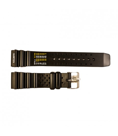 Rubber diver watch strap with decompression table and stainless steel buckle 18 mm, 20 mm