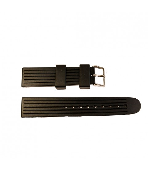 Black silicone strap for watches striped with buckle 20 mm