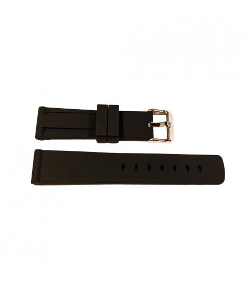 Black silicone watch strap with stainless steel buckle 20 mm