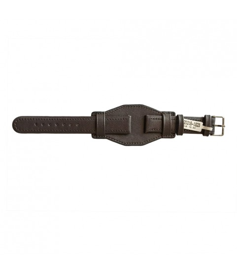 Cowhide strap with stitch and wide underlay surface brown for watches 18mm