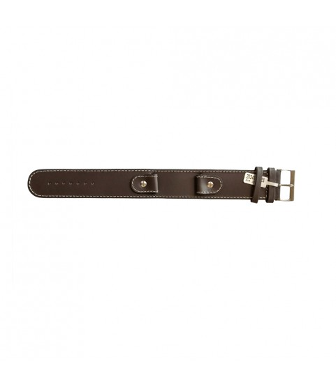 Cowhide brown strap with high steel screw and wide leather base 18mm watches
