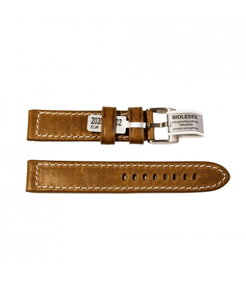 Outdoor watches strap in brown smooth, with stitch vintage style 18 mm