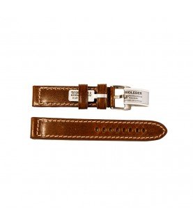 Outdoor watches strap in medium brown smooth, with stitch vintage style 18 mm