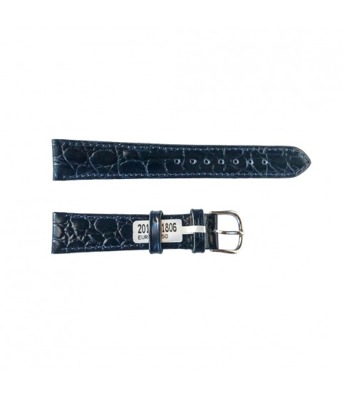 Crocodile leather dark blue strap for watches 18 mm Croco pattern